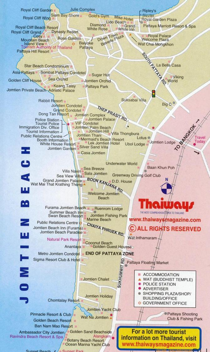 карта пляжа Джомтьен
