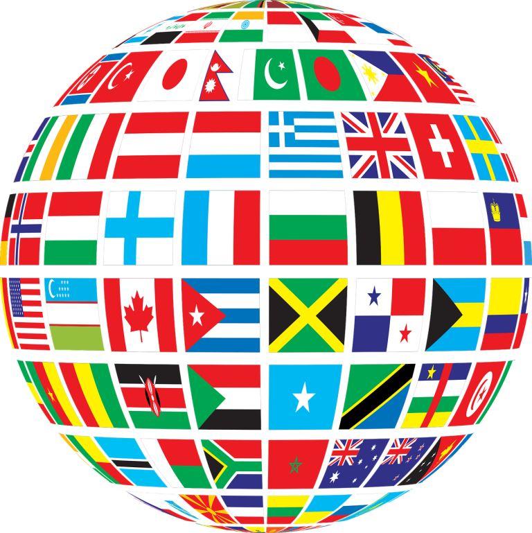 Глобус с флагами