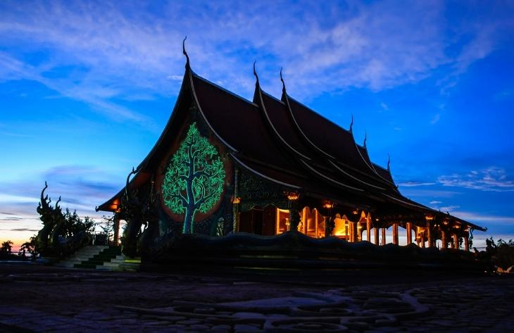 The Glowing Temple at night
