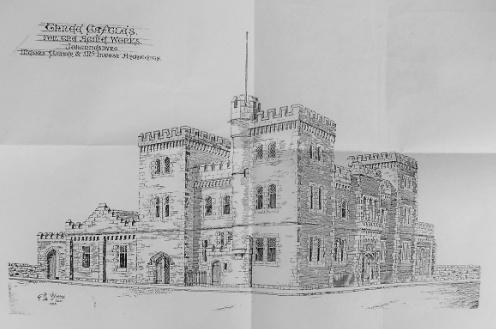Old sketch of the Three Castles Building